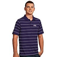 Men's Antigua TCU Horned Frogs Deluxe Striped Desert Dry Xtra-Lite Performance Polo