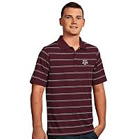 Men's Antigua Texas A&M Aggies Deluxe Striped Desert Dry Xtra-Lite Performance Polo