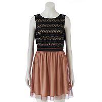 Speechless Lace Chiffon Skater Dress - Juniors