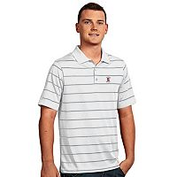 Men's Antigua Stanford Cardinal Deluxe Striped Desert Dry Xtra-Lite Performance Polo