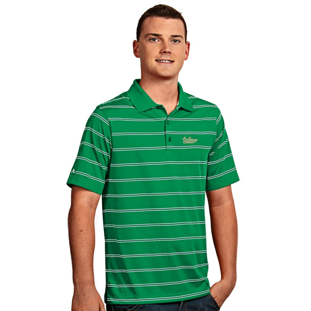 Men's Antigua South Florida Bulls Deluxe Striped Desert Dry Xtra-Lite Performance Polo