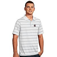 Men's Antigua South Carolina Gamecocks Deluxe Striped Desert Dry Xtra-Lite Performance Polo