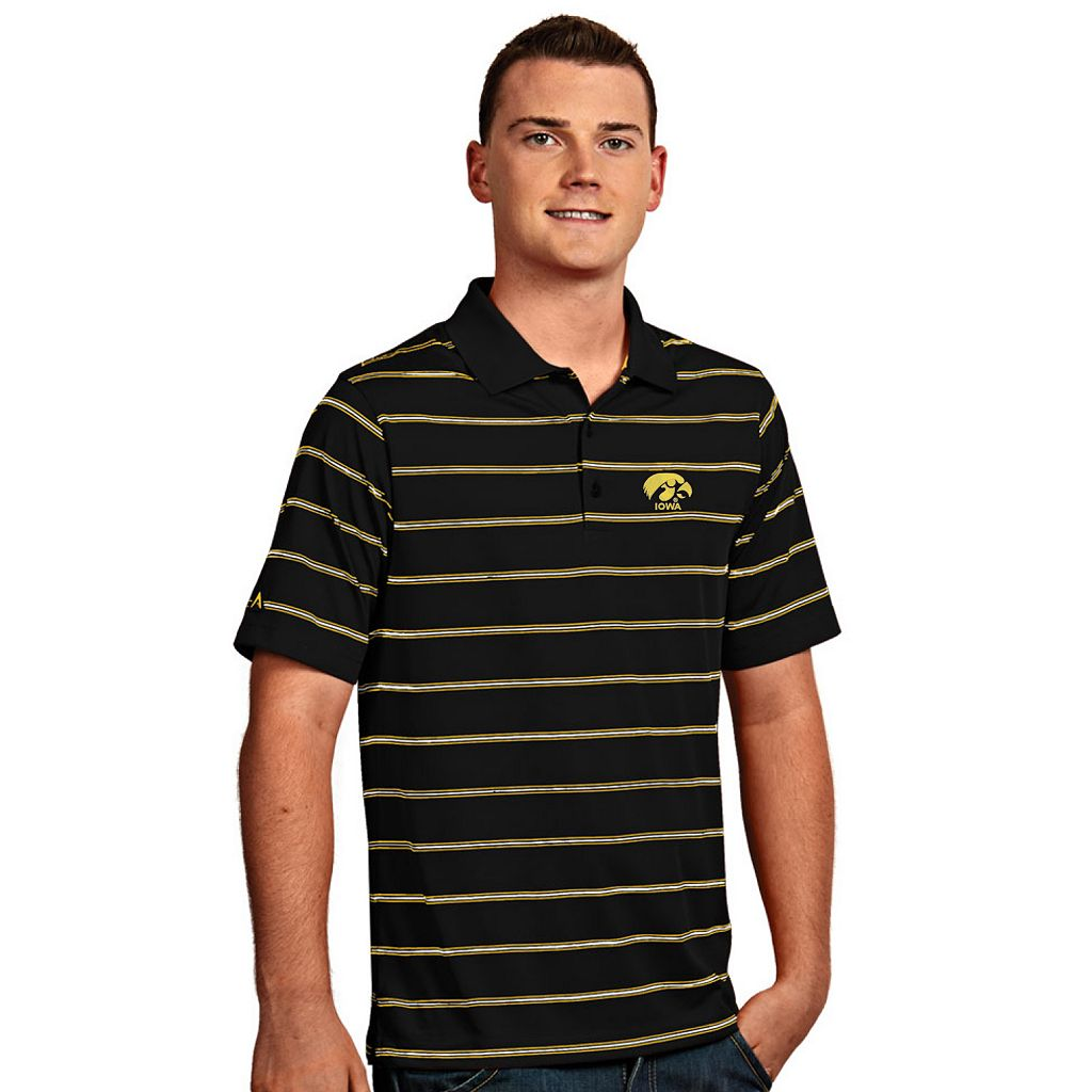 Men's Antigua Iowa Hawkeyes Deluxe Striped Desert Dry Xtra-Lite Performance Polo