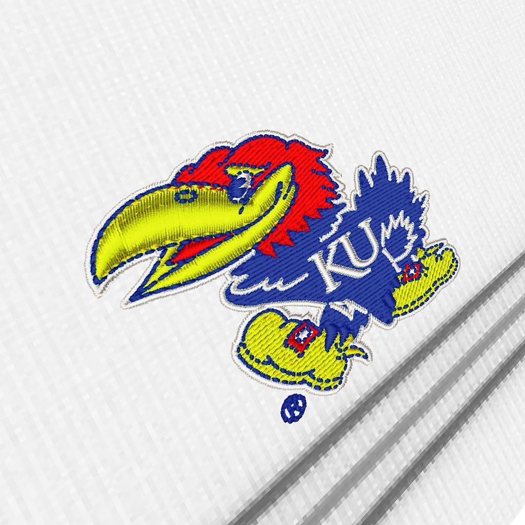 Men's Antigua Kansas Jayhawks Deluxe Striped Desert Dry Xtra-Lite Performance Polo