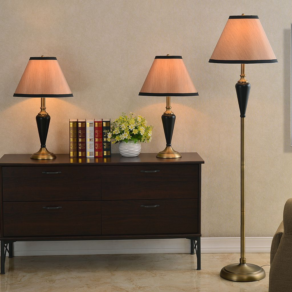 Hunley 3-piece Table & Floor Lamp Set