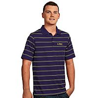 Men's Antigua LSU Tigers Deluxe Striped Desert Dry Xtra-Lite Performance Polo