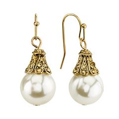 1928 Simulated Pearl Drop Earrings