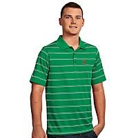 Men's Antigua Marshall Thundering Herd Deluxe Striped Desert Dry Xtra-Lite Performance Polo
