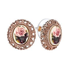 1928 Flower & Heart Button Stud Earrings