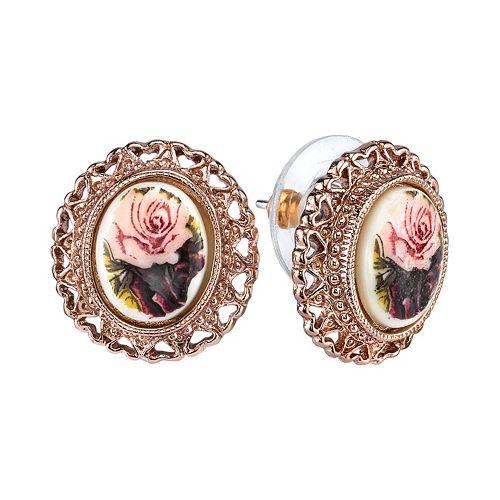 1928 Flower & Heart Button Stud Earrings