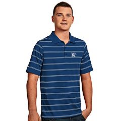 Men's Antigua Memphis Tigers Deluxe Striped Desert Dry Xtra-Lite Performance Polo