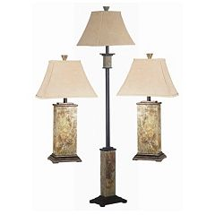 Bennington 3 pc Table & Floor Lamp Set