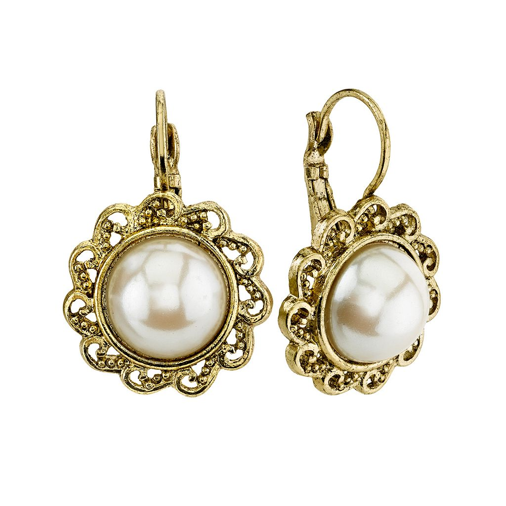 1928 Simulated Pearl Round Drop Earrings