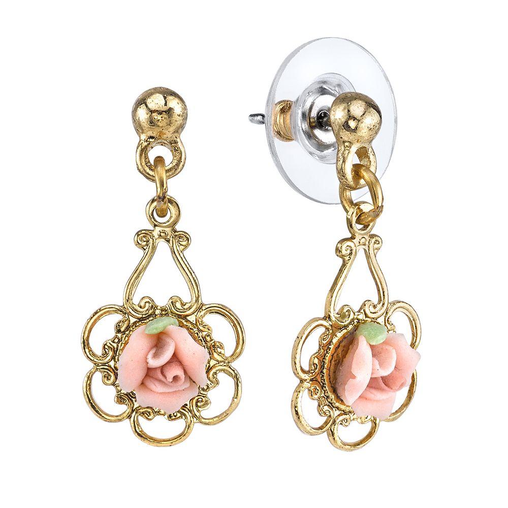 1928 Porcelain Rose Drop Earrings