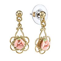 1928 Porcelain Rose Drop Earrings