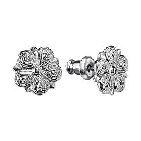 1928 Textured Flower Stud Earrings