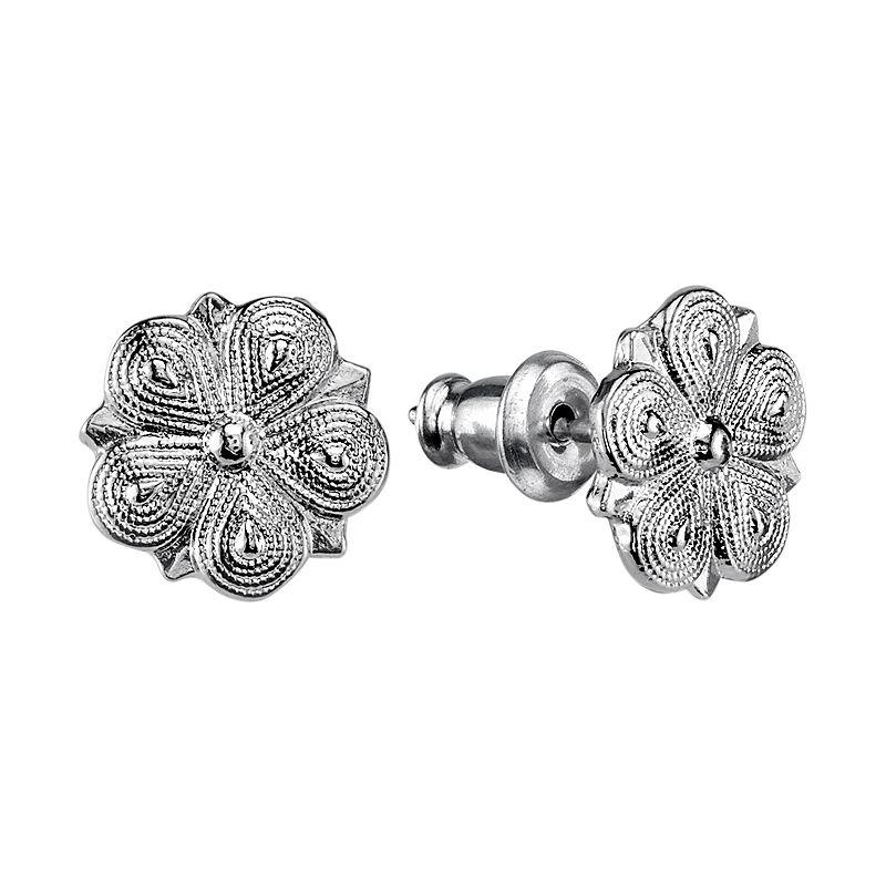 1928 Jewelry Women's Alloy Silver-Toned Flower-Shaped Stud Post Fashion Earrings