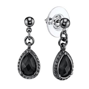 1928 Ball Stud Black Teardrop Earrings