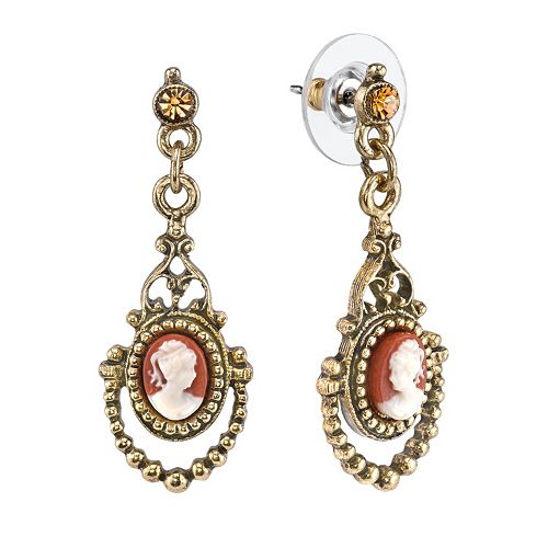 1928 Cameo Drop Earrings