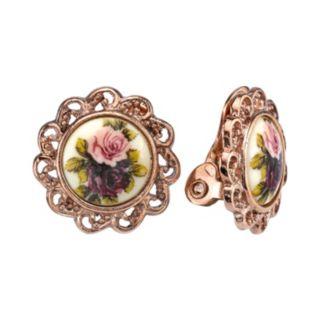 1928 Flower Clip-On Stud Earrings