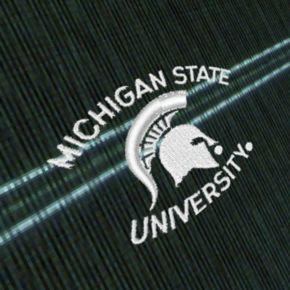 Men's Antigua Michigan State Spartans Deluxe Striped Desert Dry Xtra-Lite Performance Polo
