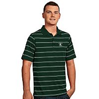 Men's Antigua Michigan State Spartans Deluxe Striped Desert Dry Xtra-Lite Performance Polo