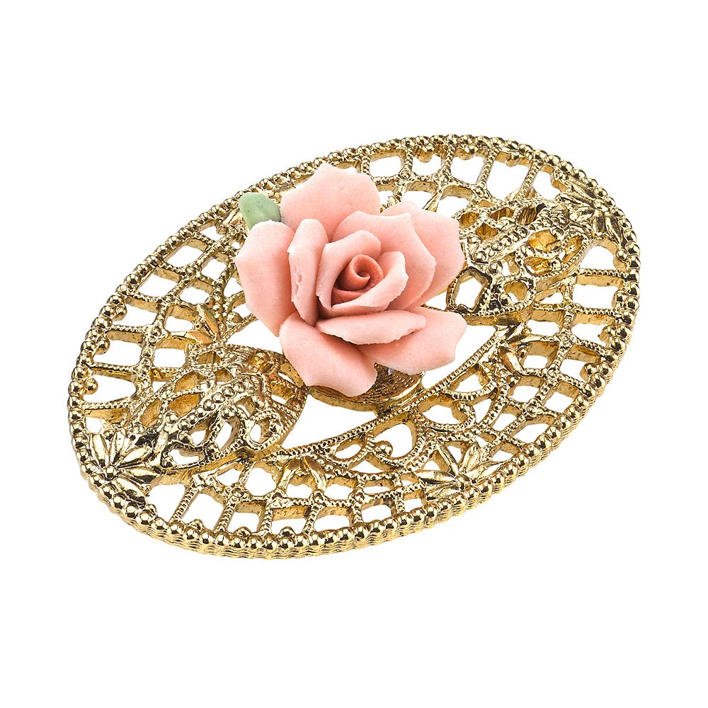 1928 Porcelain Rose Openwork Pin
