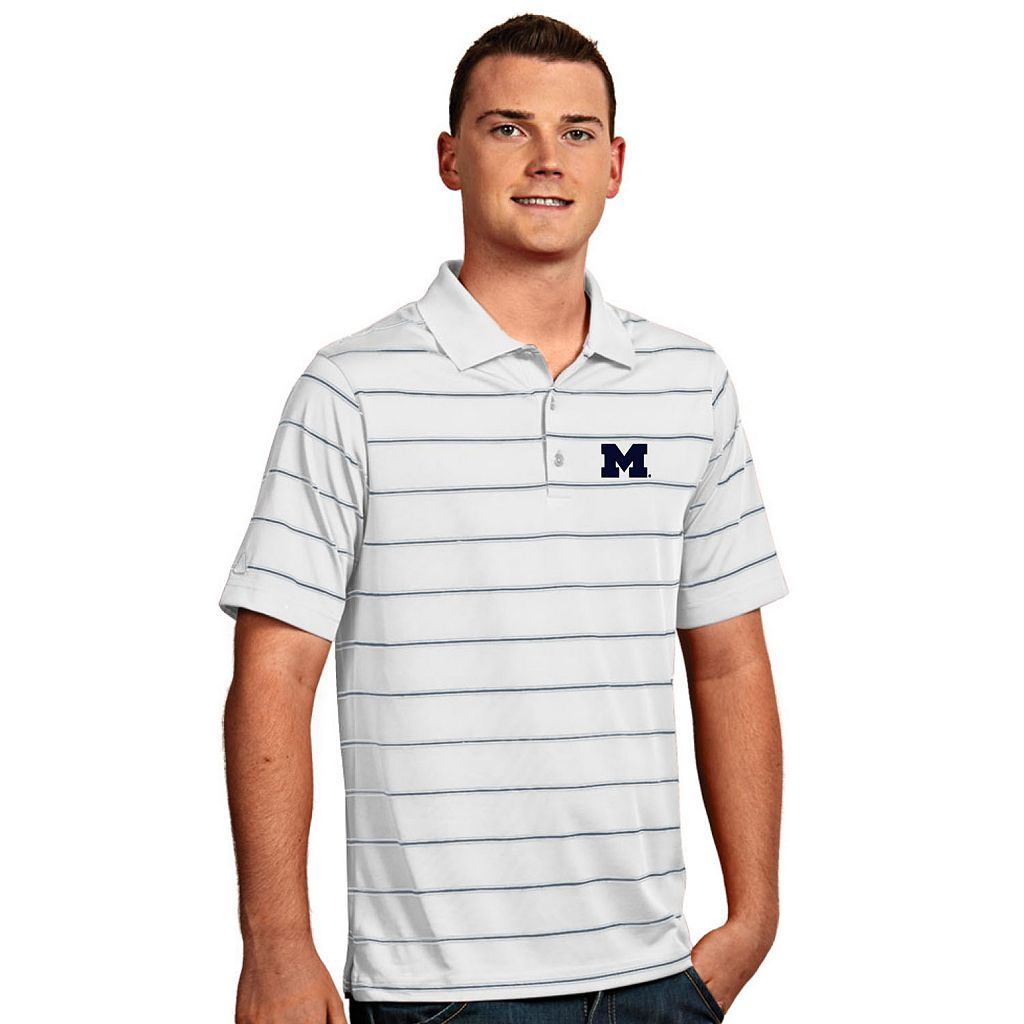 Men's Antigua Michigan Wolverines Deluxe Striped Desert Dry Xtra-Lite Performance Polo