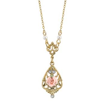 1928 Porcelain Rose Y Necklace