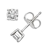 1/10 Carat T.W. Diamond 10k White Gold Stud Earrings