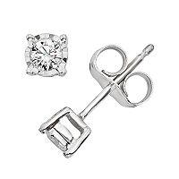 1/10 Carat T.W. Diamond 10k White Gold Stud Earrings