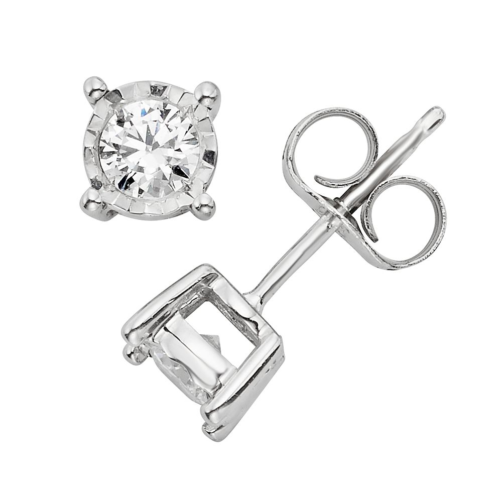 1/4 Carat T.W. Diamond 10k White Gold Stud Earrings