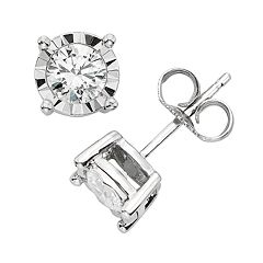 1 2 Carat T W Diamond 10k White Gold Stud Earrings