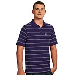 Men's Antigua Northwestern Wildcats Deluxe Striped Desert Dry Xtra-Lite Performance Polo