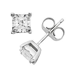 1/4 Carat T.W. Diamond 10k White Gold Stud Earrings