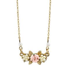 1928 Porcelain Rose Necklace