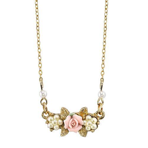 1928 Porcelain Rose Necklace