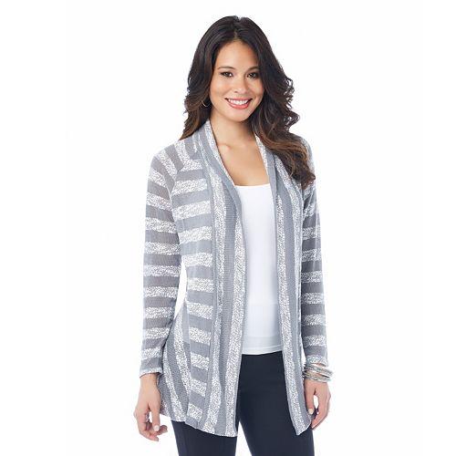 daisy fuentes® Striped Flyaway Cardigan - Women's