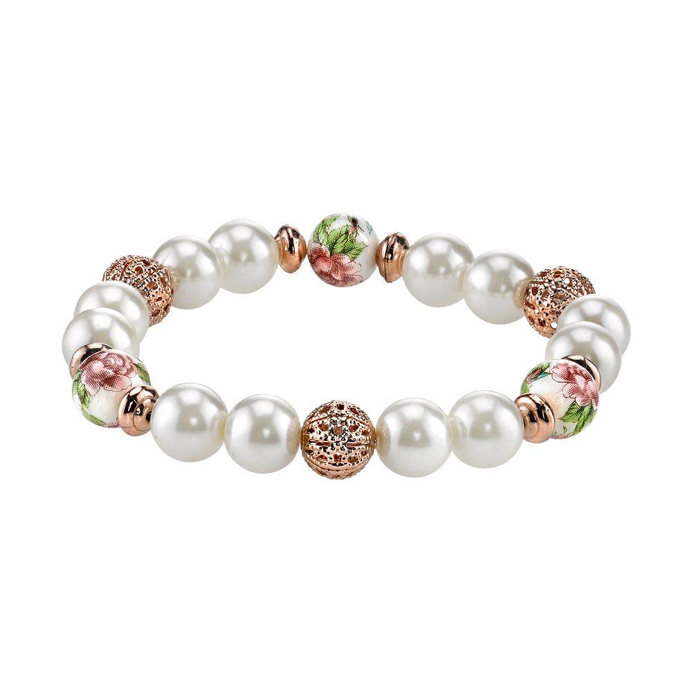 1928 Bead & Flower Stretch Bracelet