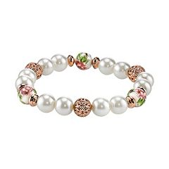 1928 Bead & Flower Stretch Bracelet
