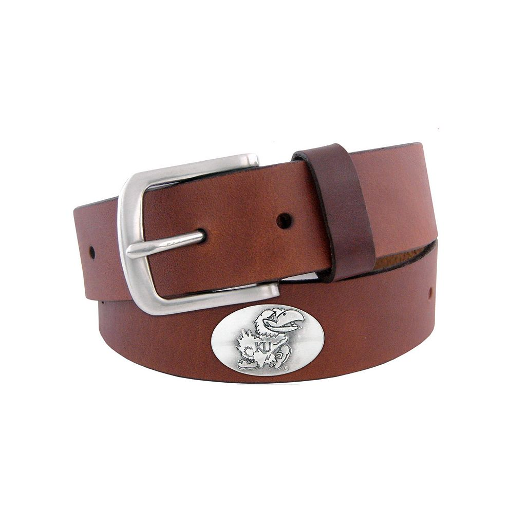 Men's Zep-Pro Kansas Jayhawks Concho Leather Belt