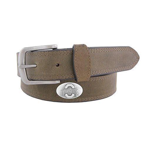 Men's Zep-Pro Ohio State Buckeyes Concho Crazy Horse Leather Belt