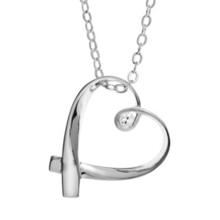 Silver Expressions by LArocks Cubic Zirconia Silver-Plated '' Mother'' Ribbon Heart Pendant Necklace