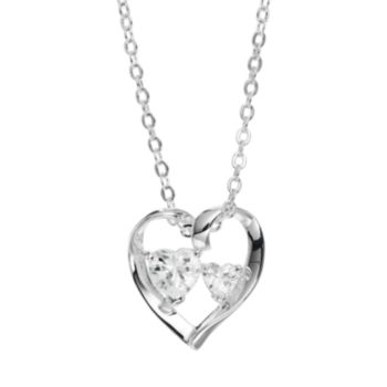 Silver Expressions by LArocks Cubic Zirconia Silver-Plated '' A Mother's Love'' Ribbon Heart Pendant Necklace