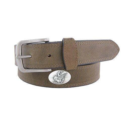 Men's Zep-Pro Kansas Jayhawks Concho Crazy Horse Leather Belt