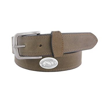 Men's Zep-Pro Arkansas Razorbacks Concho Crazy Horse Leather Belt