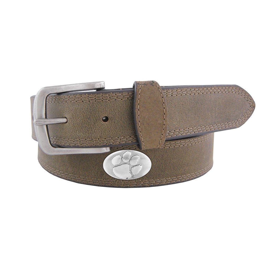Men's Zep-Pro Clemson Tigers Concho Crazy Horse Leather Belt
