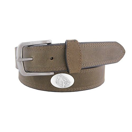 Men's Zep-Pro Louisville Cardinals Concho Crazy Horse Leather Belt