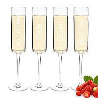Cathy's Concepts Wedding Party 4 pc Contemporary Champagne Flute Set