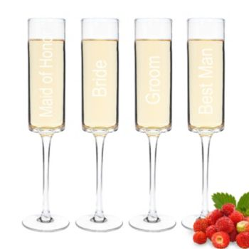 Cathy's Concepts Wedding Party 4-pc. Contemporary Champagne Flute Set